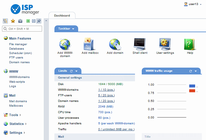 Screenshot of ISPsystem's control panel - ISPmanager 5