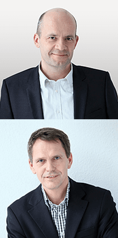 Headshots of the Co-Founders of Open-Xchange, CEO Rafael Laguna and EVP Frank Hoberg