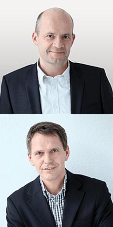Headshots of the Co-Founders of Open-Xchange, CEO Rafael Laguna and EVP Frank Hoberg