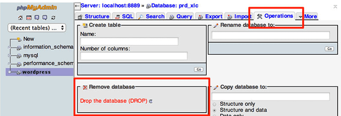 Screenshot of the PHPMyAdmin tool for WordPress database removal