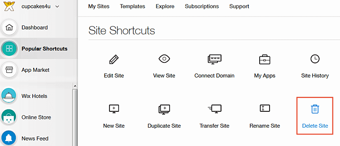 Screenshot of Wix Site Shortcuts - Delete Site
