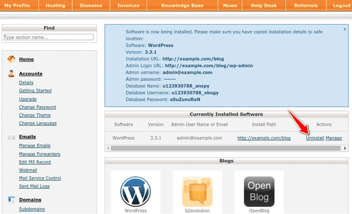 Uninstalling WordPress in cPanel