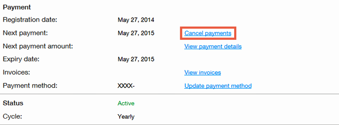"Screenshot of Wix payment info: ""Cancel Payments"""