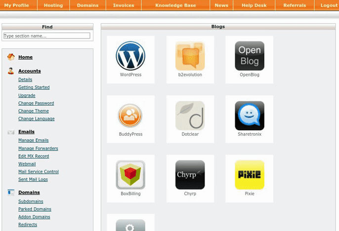 screenshot of auto-installer in cPanel