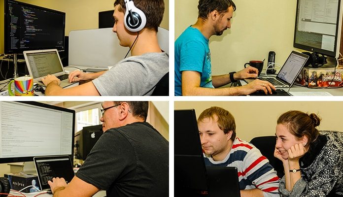 Shots of the ISPsystem dev team at work