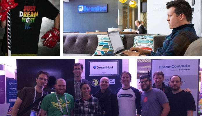 Images of the DreamHost team in office and at conferences