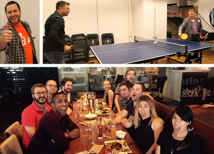 Images of the WhatRunsWhere team in the office and having fun