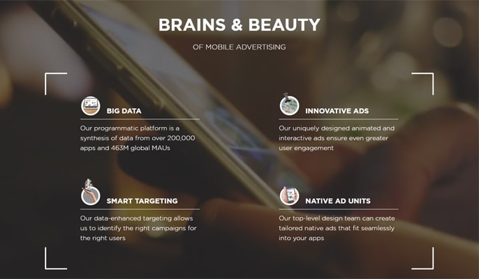 """Screenshots of StartApp's """"Brains and Beauty"""" model and """"Scale on a Human Level"""" campaign"""