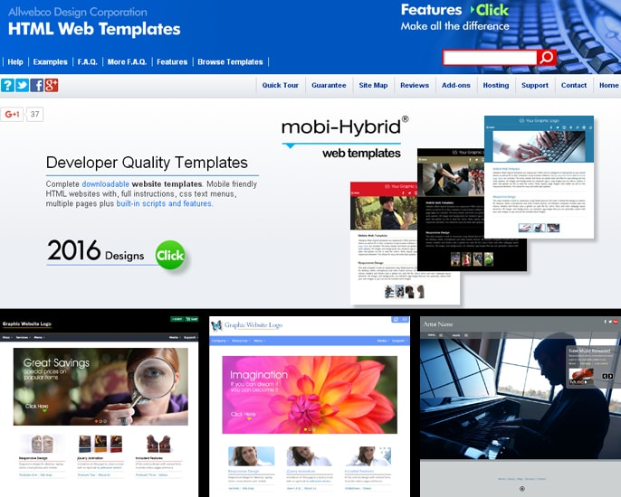 Template Examples from AllWebCoDesign