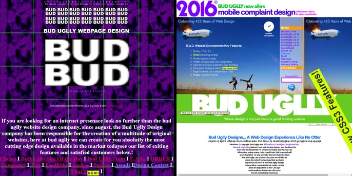 The 1996 and 2016 Versions of BudUgllyDesign.com