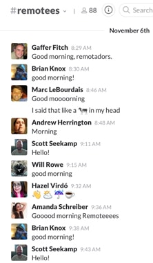 A typical start to the conversation on the DigitalOcean remote employee Slack channel