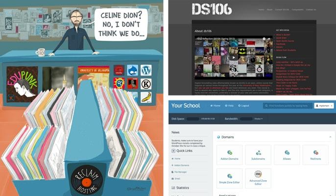 Screenshots of Reclaim Hosting affiliated projects
