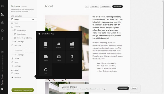 Drag-and-drop site builder on Squarespace.com