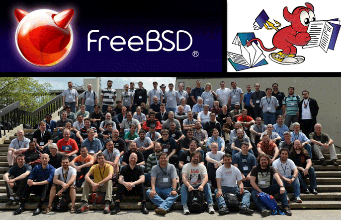 "FreeBSD's mascot, ""Beastie"" and team at BSDCan 2014"