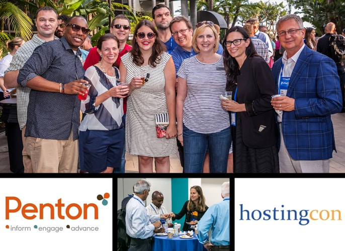 Group shots of team networking, brought to you by Penton and HostingCon