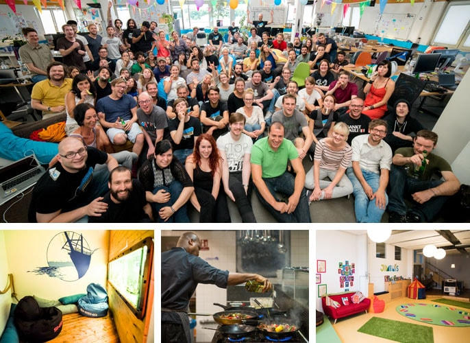 Group picture of Jimdo team with images of their chef, a playroom and relaxation room