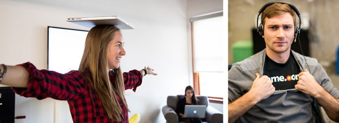Female employee balances a laptop on her head while male employee shows off his Name.com shirt