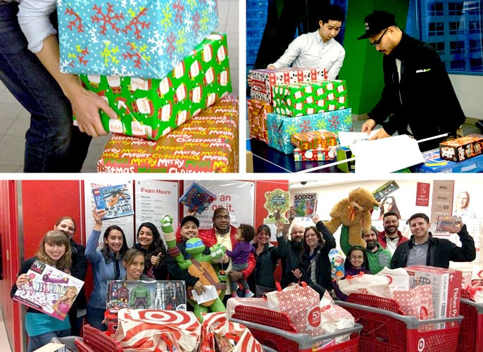 Employees buy, wrap, and deliver presents