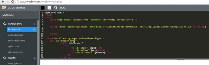 Screenshot of Weebly code editor