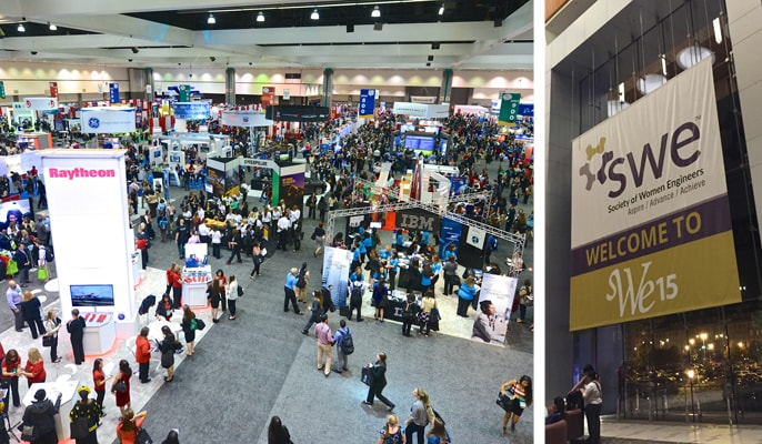 Shots of a career fair and WE15