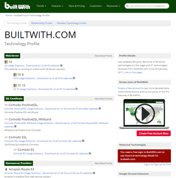 Screenshot of BuiltWith's technology profile