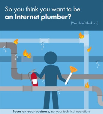 Graphic encouraging people to not be an Internet plumber