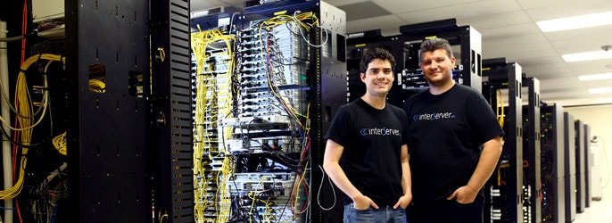 InterServer Co-Founders John Quaglieri and Mike Lavrik pose in their datacenter
