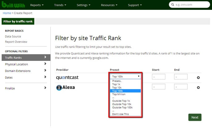 Screenshot of website traffic filter on BuiltWith report