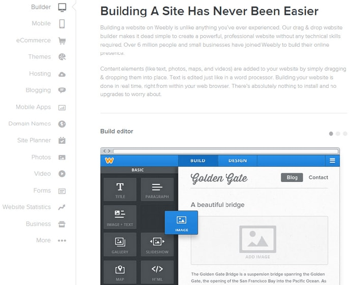 Weebly web builder screenshot