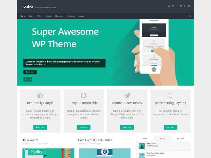 Evolve WordPress theme screenshot