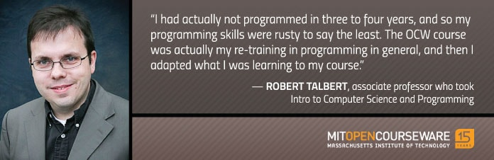 Photo and quote from Robert Talbert about his OCW experiences