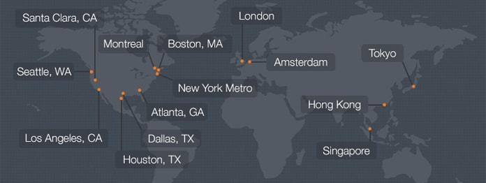 Map of Internap data centers
