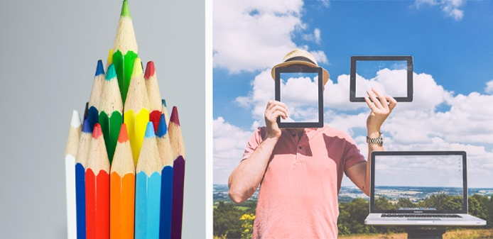 Photo of colored pencils and conceptual color choice photo