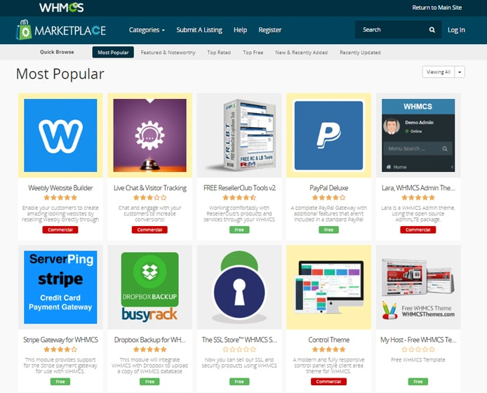 Screenshot of WHMCS Marketplace