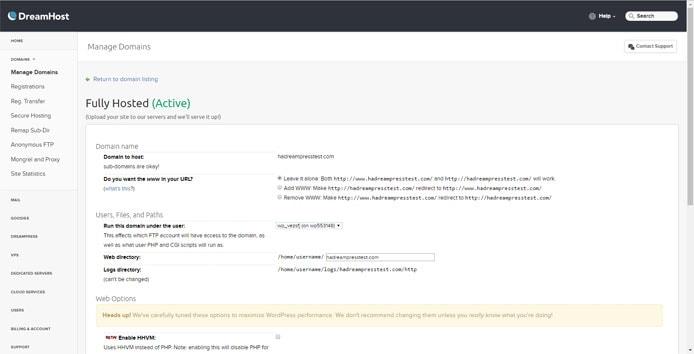 Screenshot of DreamPress domain management dashboard