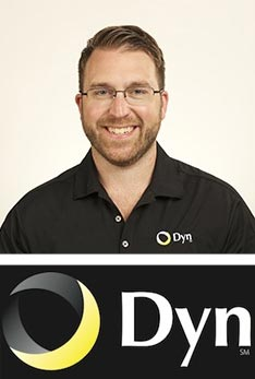 Portrait of Kyle York and Dyn logo