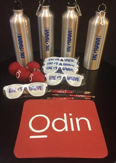 Ingram Micro and Odin water bottles, sunglasses, and mouse pad