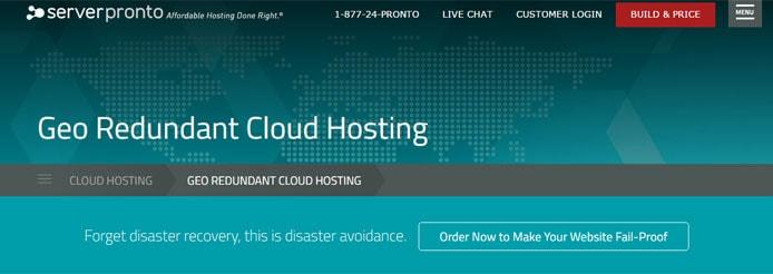 Screenshot of ServerPronto's geo redundant cloud hosting page