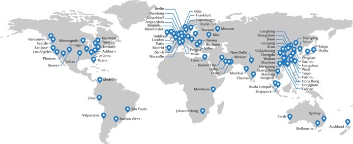 Map of locations of CloudFlare's datacenters