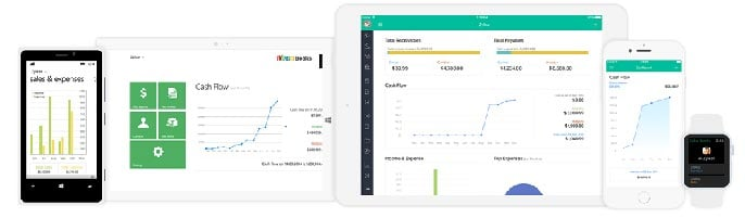 Screenshots of Zoho Books app on phones and tablets