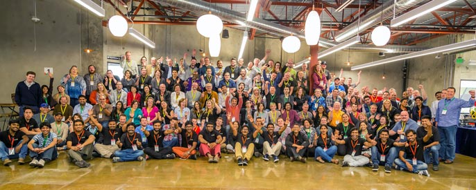 Group picture of developers who attended Zoholics