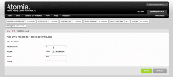 Screenshot of Atomia dashboard