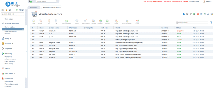 Screenshot of BILLmanager demo