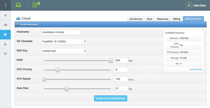 Screenshot of HostBill dashboard
