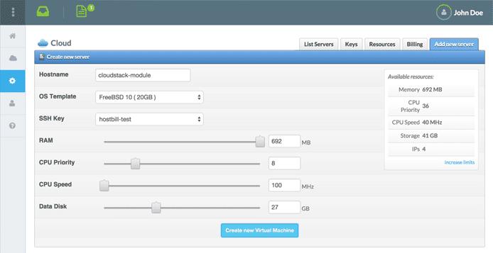 Screenshot of HostBill dashboard