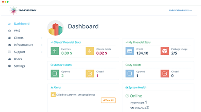 Screenshot of Sadeem dashboard