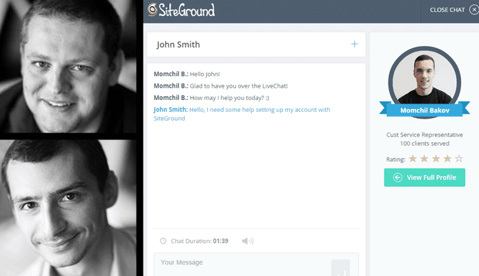 Screenshot of SiteGround live chat alongside CEO and Founder headshots