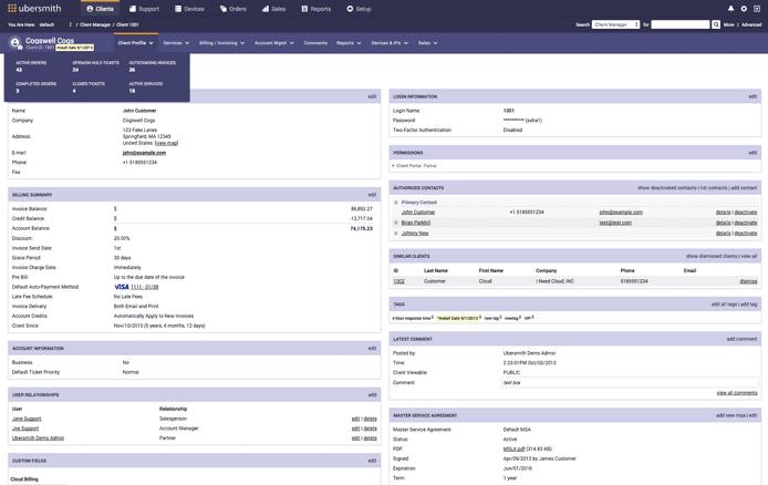 Screenshot of Ubersmith dashboard