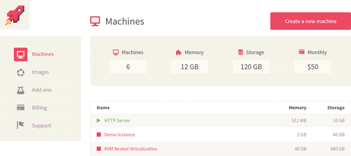 Screenshot of Virtkick dashboard