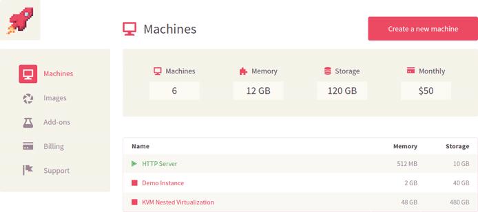 Screenshot of Virtkick dashboard